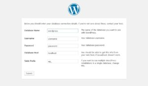 how to install wordpress database setup