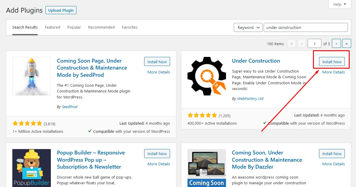 Under construction plugin page