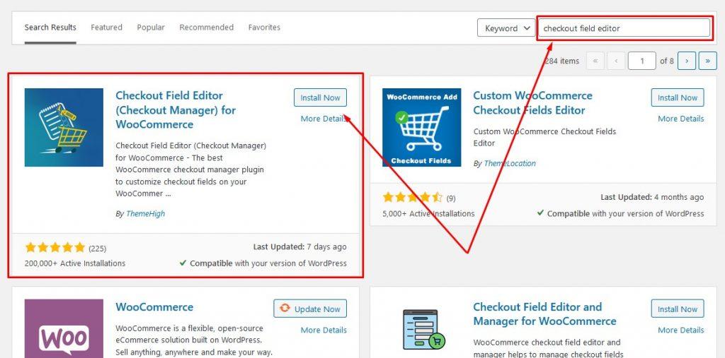 Checkout Plugin Search