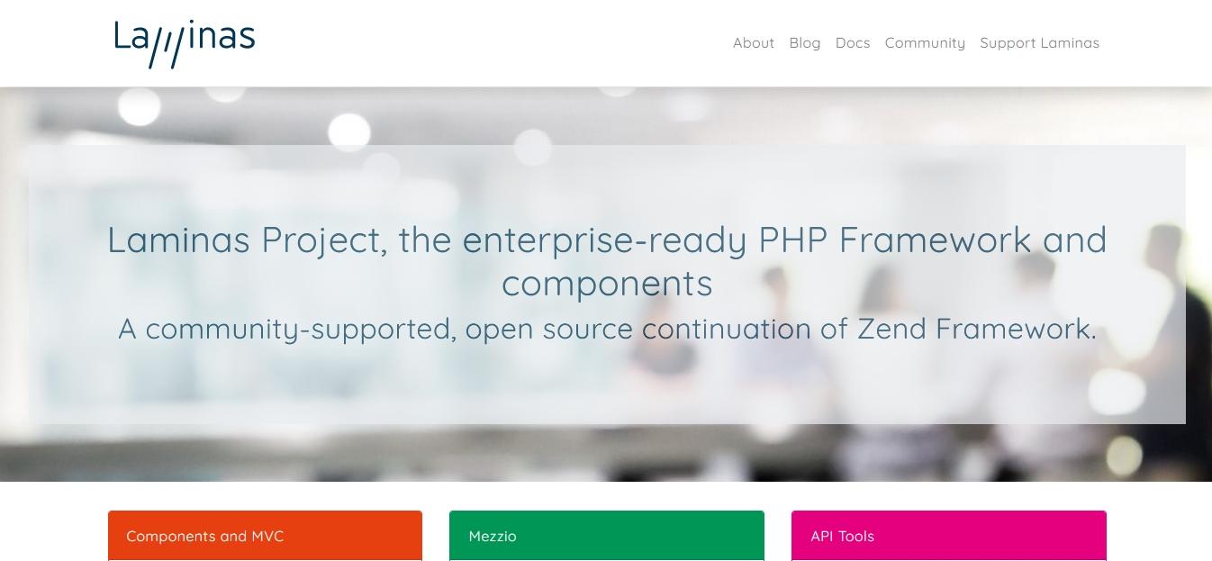 popular PHP framework laminas